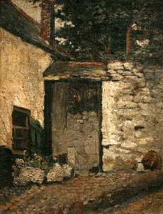 Frederick Millard - Courtyard in Newlyn Leading through to Myrtle Cottage