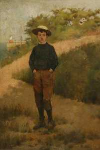 Frederick Millard - Boy at Newlyn Harbour