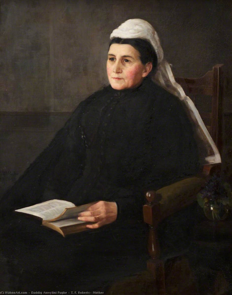 T. F. Roberts` Mother, 1893 by Buddig Anwylini Pughe | Paintings Reproductions Buddig Anwylini Pughe | WahooArt.com