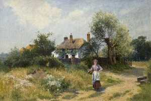 Ernest Walbourne - Landscape with a Cottage and a Woman