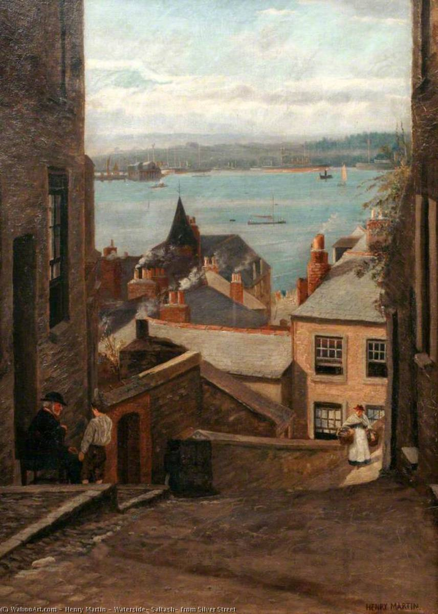 Waterside, Saltash, from Silver Street, 1900 by Henry Martin | Oil Painting | WahooArt.com