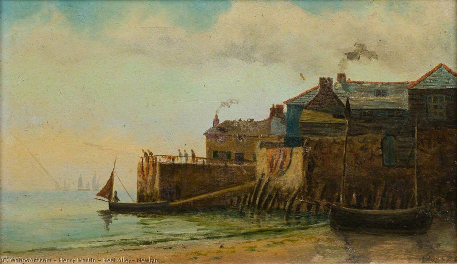 Keel Alley, Newlyn, Oil On Panel by Henry Martin
