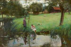 Bertha Newcombe - Landscape with Pond, Sheep and Figures