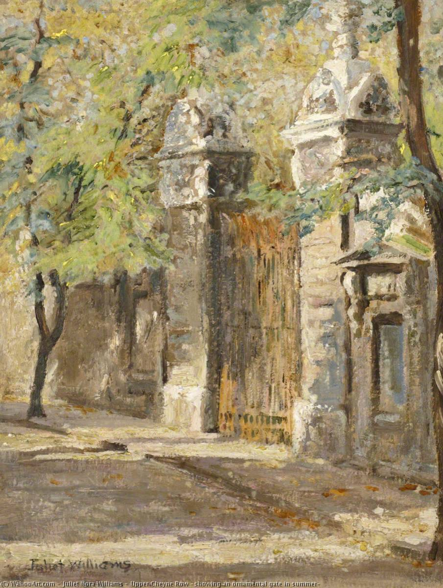 Upper Cheyne Row (showing an ornamental gate in summer) by Juliet Nora Williams | Museum Quality Reproductions | WahooArt.com