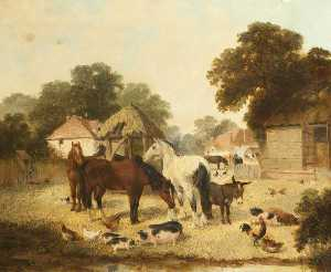 William George Meadows - Farmyard Scene