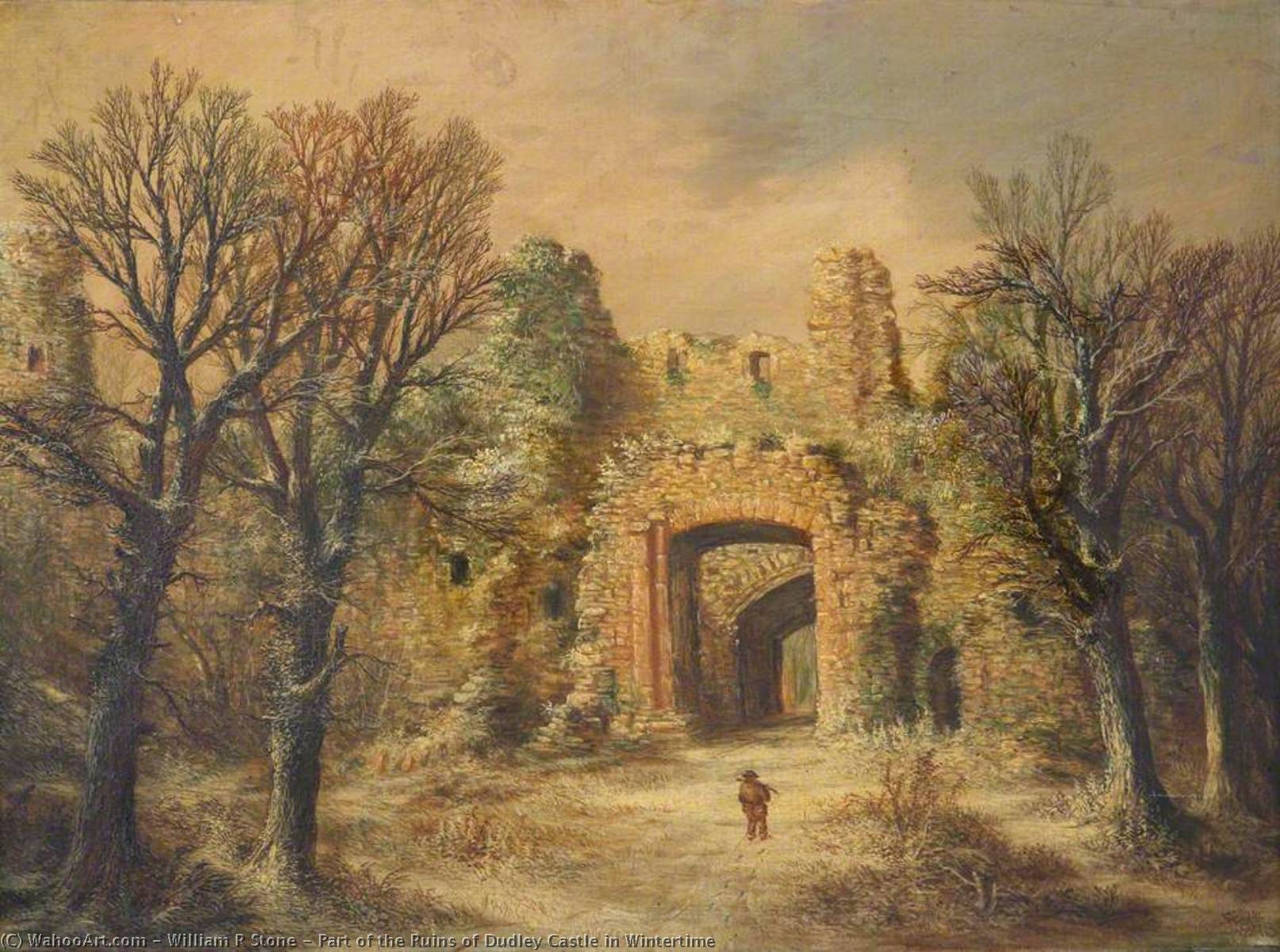 Part of the Ruins of Dudley Castle in Wintertime, 1878 by William R Stone | Paintings Reproductions William R Stone | WahooArt.com