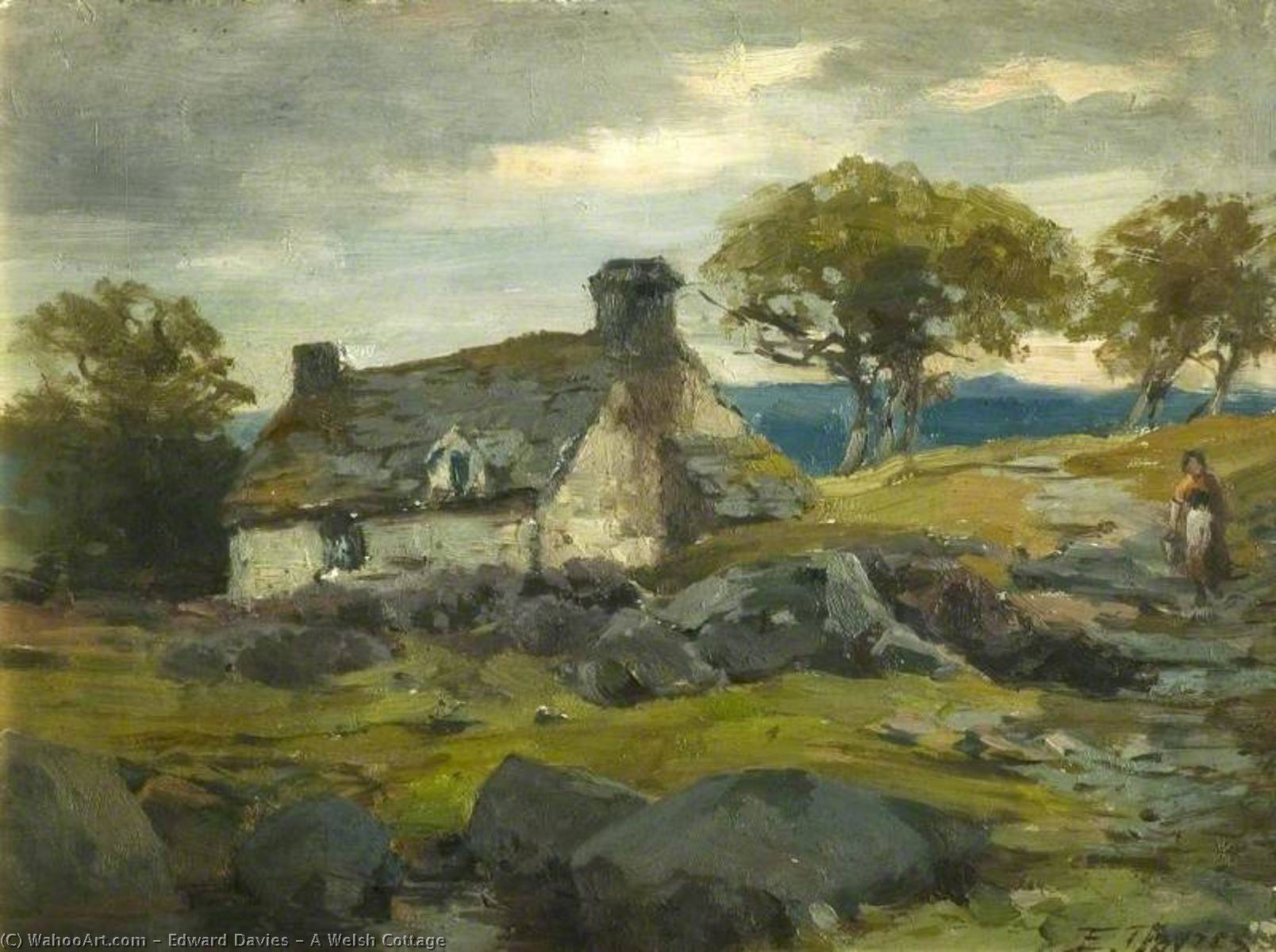 A Welsh Cottage by Edward Davies | Famous Paintings Reproductions | WahooArt.com