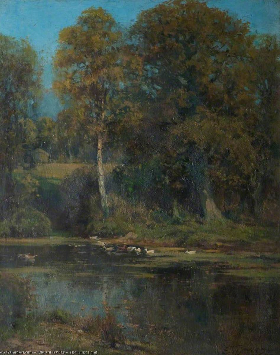 The Duck Pond, Oil On Canvas by Edward Davies