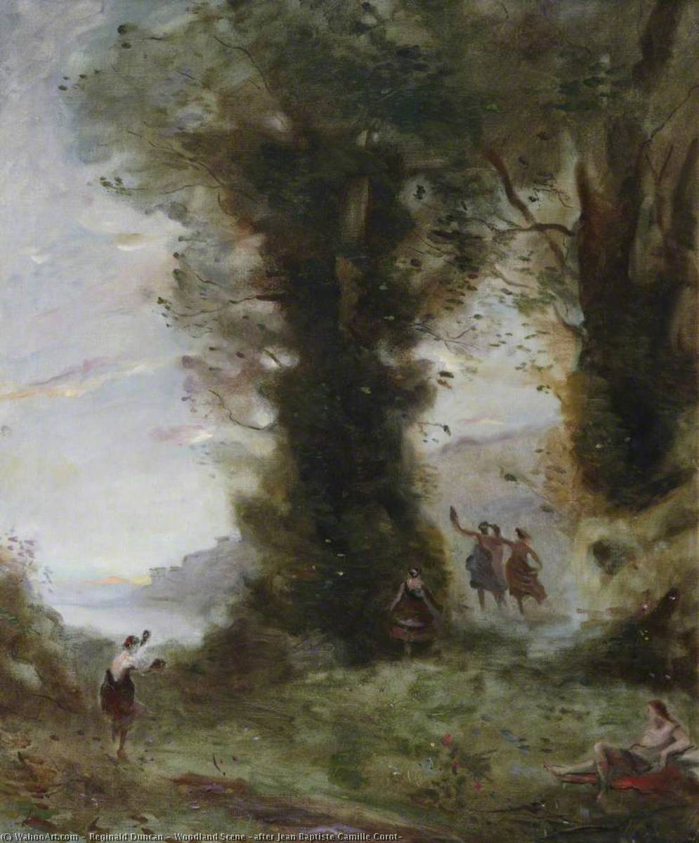 Order Oil Painting : Woodland Scene (after Jean Baptiste Camille Corot) by Reginald Duncan | WahooArt.com