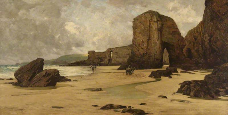 Order Painting Copy : Beach View with Figures, Cornwall, 1903 by Giffard Hocart Lenfestey | WahooArt.com