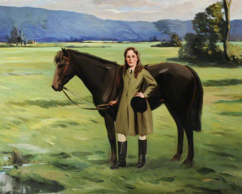 A Girl Holding a Brown Pony in a Field, Oil On Canvas by Bernard Adams