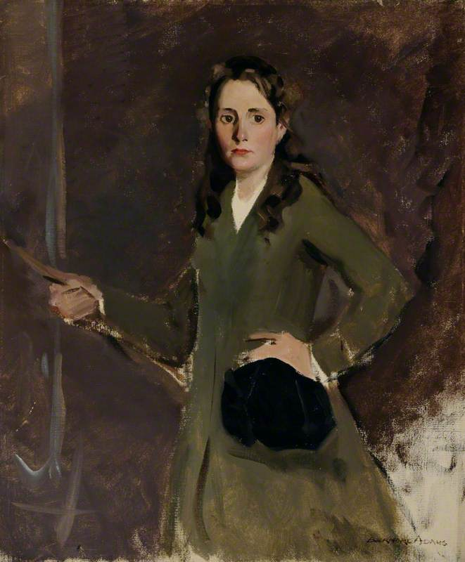 Miss Kay Abbs (1901–1974), in Riding Habit, Oil On Canvas by Bernard Adams
