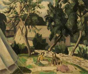 William Bernard Adeney - Campers by a Stream