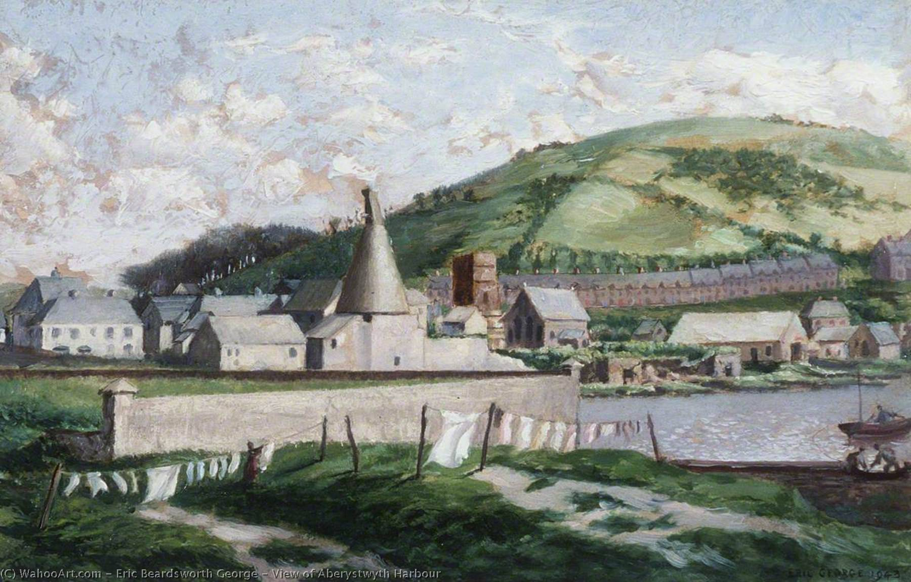 View of Aberystwyth Harbour, Oil by Eric Beardsworth George