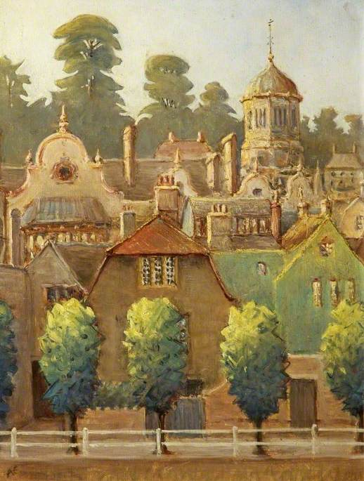 The Bullpit and Town Hall, Bradford on Avon, Wiltshire, Oil by Ambrose Elton