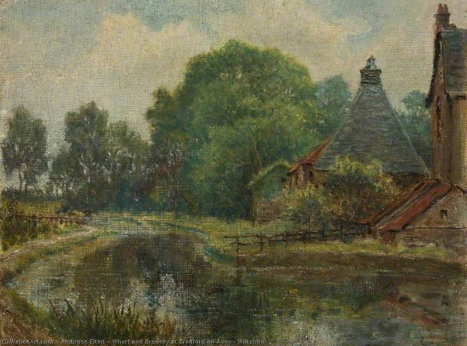 Order Museum Quality Reproductions : Wharf and Brewery at Bradford on Avon, Wiltshire by Ambrose Elton | WahooArt.com