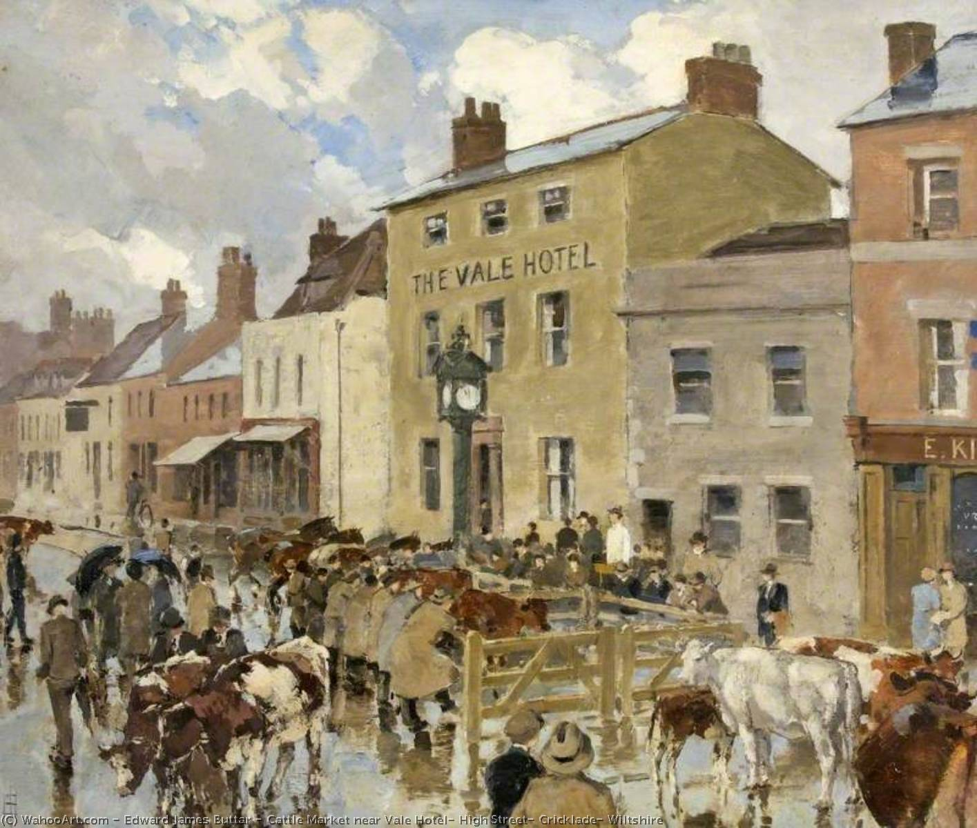 Cattle Market near Vale Hotel, High Street, Cricklade, Wiltshire, 1920 by Edward James Buttar | Reproductions Edward James Buttar | WahooArt.com