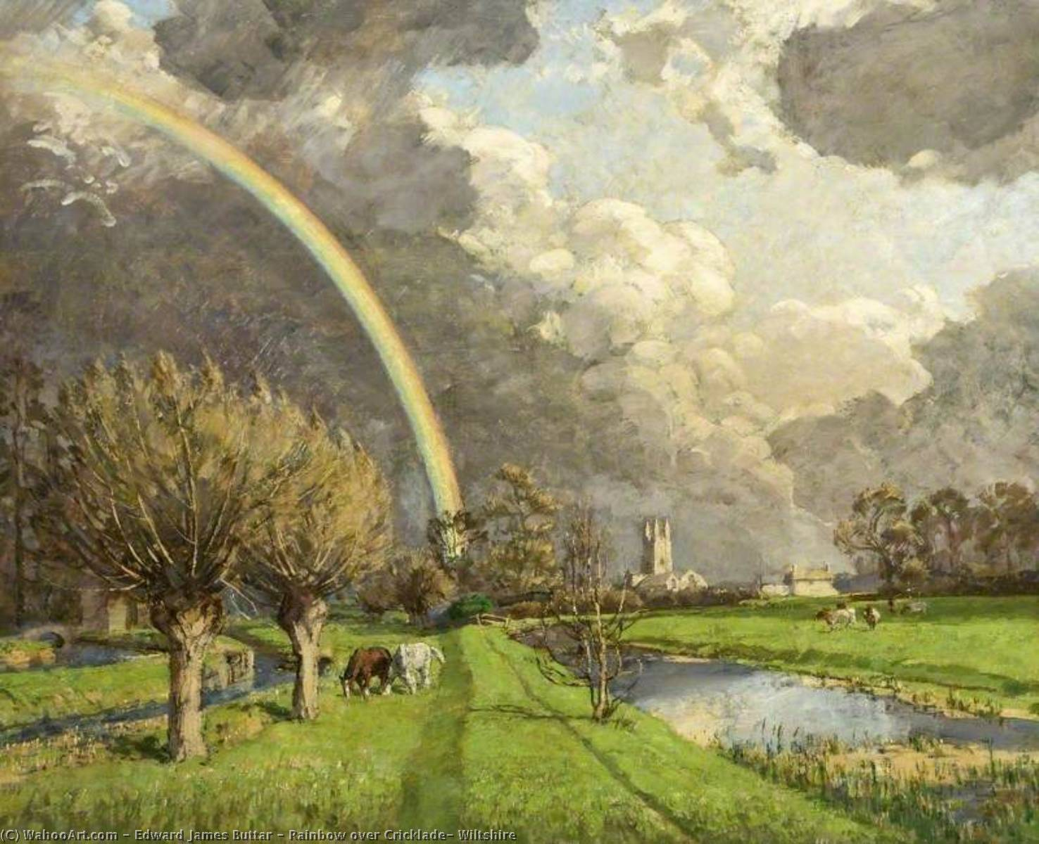 Rainbow over Cricklade, Wiltshire, 1940 by Edward James Buttar | Reproductions Edward James Buttar | WahooArt.com