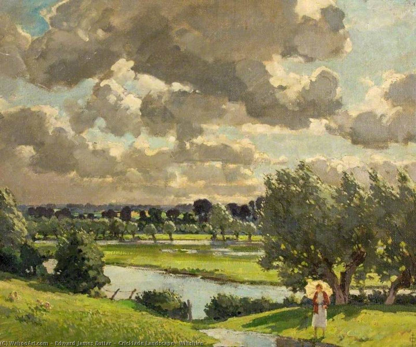 Cricklade Landscape, Wiltshire by Edward James Buttar | Paintings Reproductions Edward James Buttar | WahooArt.com