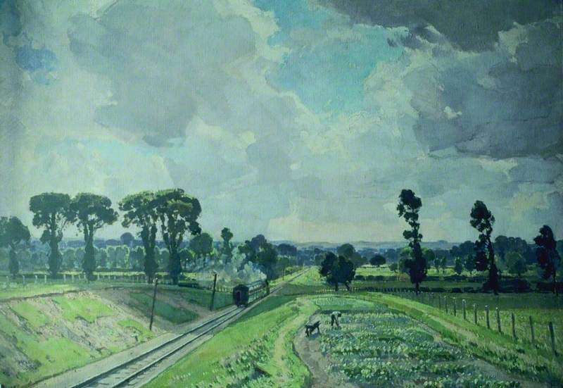 Towards the Wiltshire Downs by Edward James Buttar | Reproductions Edward James Buttar | WahooArt.com