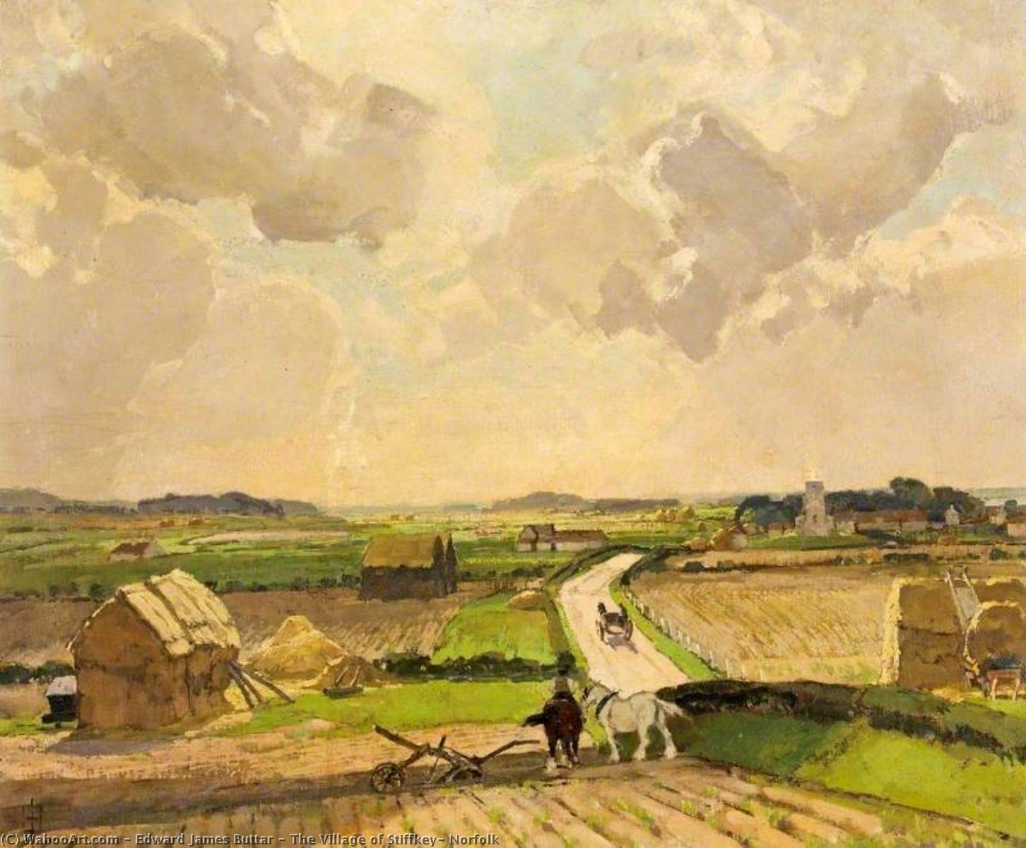 The Village of Stiffkey, Norfolk by Edward James Buttar | Paintings Reproductions Edward James Buttar | WahooArt.com