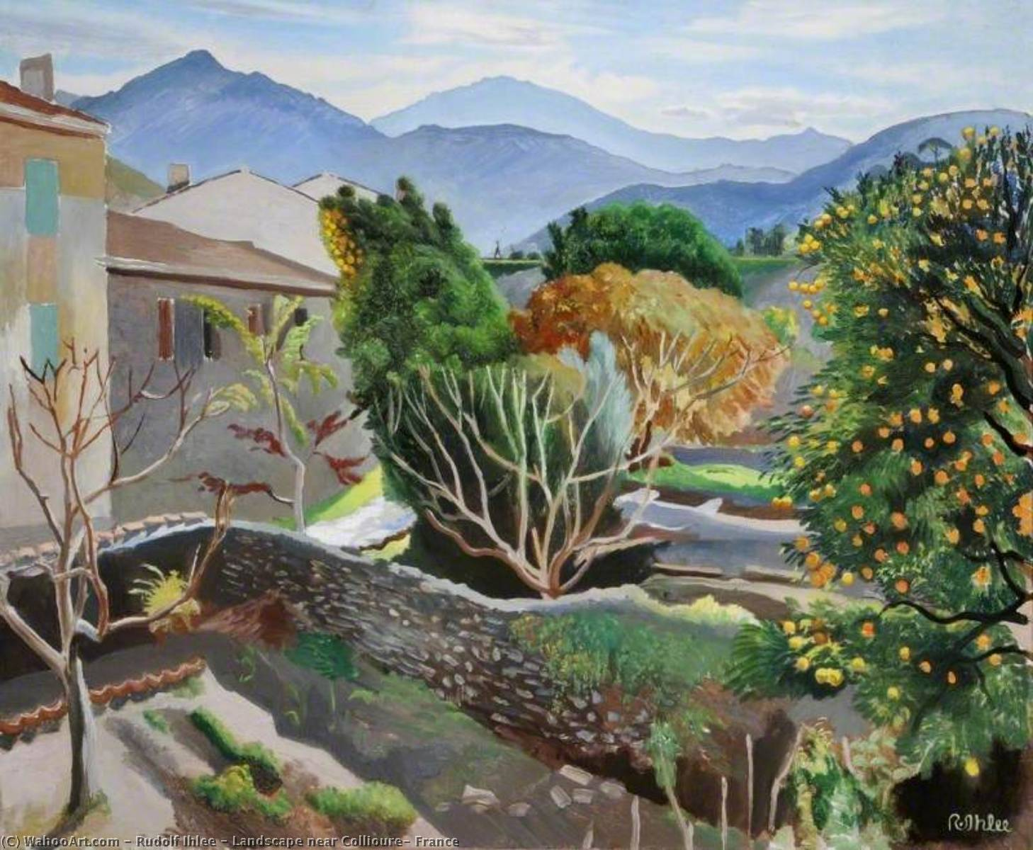 Landscape near Collioure, France, 1930 by Rudolf Ihlee | Museum Art Reproductions Rudolf Ihlee | WahooArt.com