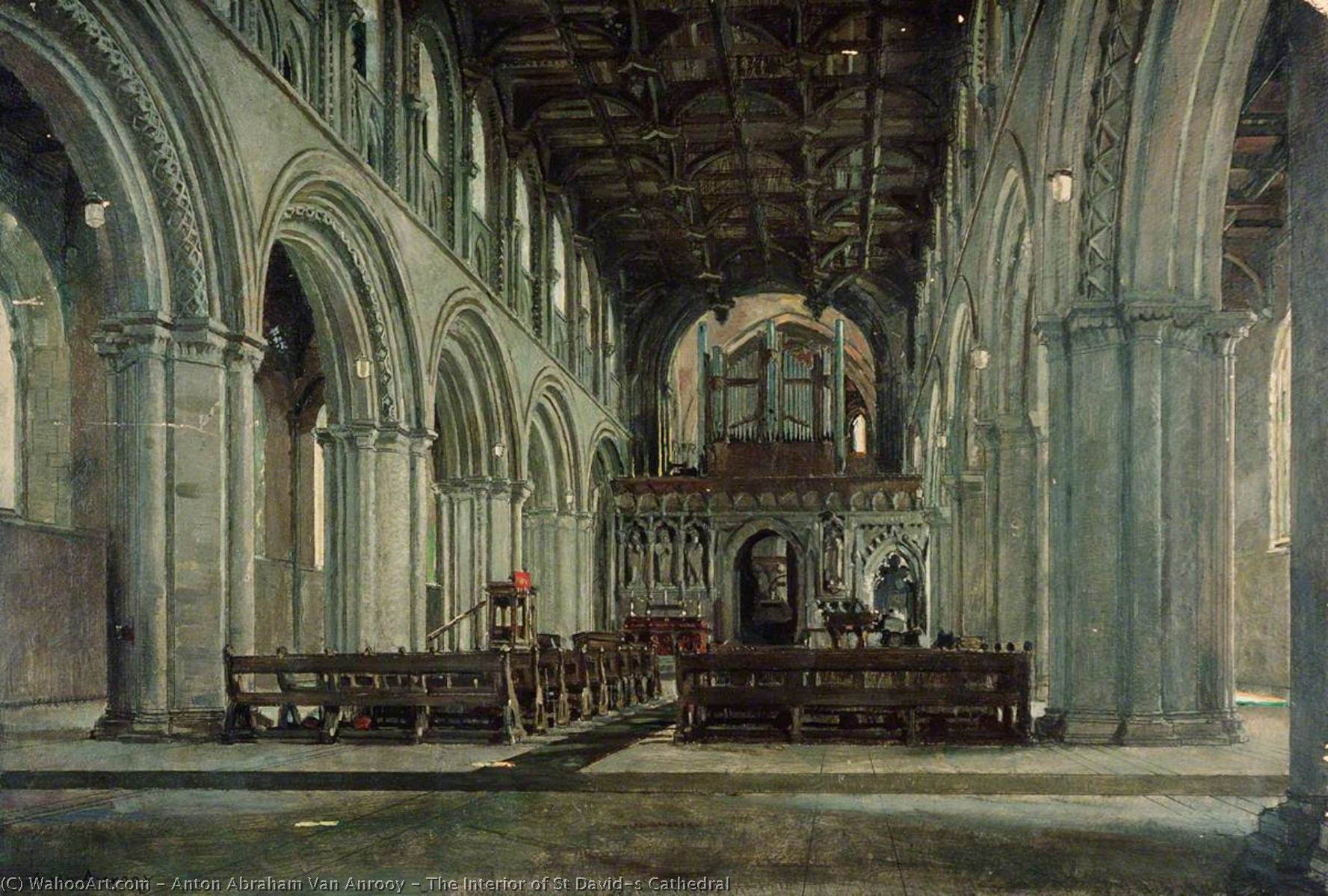 The Interior of St David's Cathedral, Oil by Anton Abraham Van Anrooy