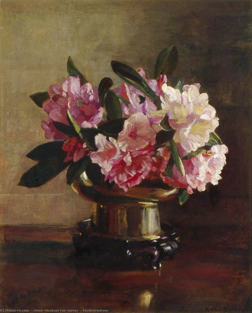 Rhododendrons, Oil On Canvas by Anton Abraham Van Anrooy