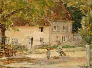 Elinor Proby Adams - Cottage at Slindon, Sussex, opposite the Village Club