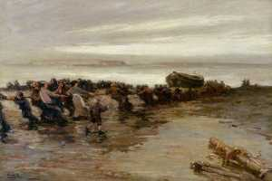 John William Gilroy - Hauling up the Lifeboat, Holy Island, Northumberland