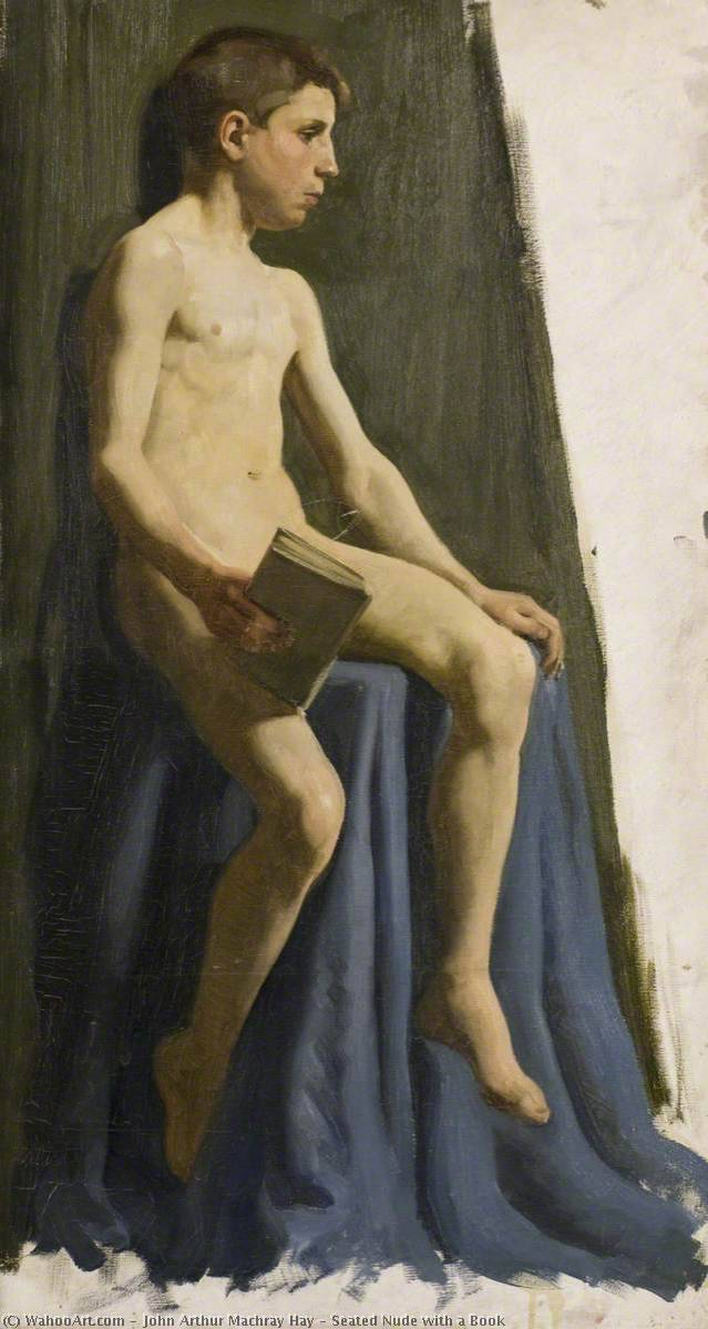 Seated Nude with a Book, Oil On Canvas by John Arthur Machray Hay