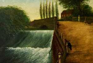 Order Reproductions | The Weir, Mill Walk, Nuneaton, Warwickshire, 1924 by Charles Jacombs | WahooArt.com