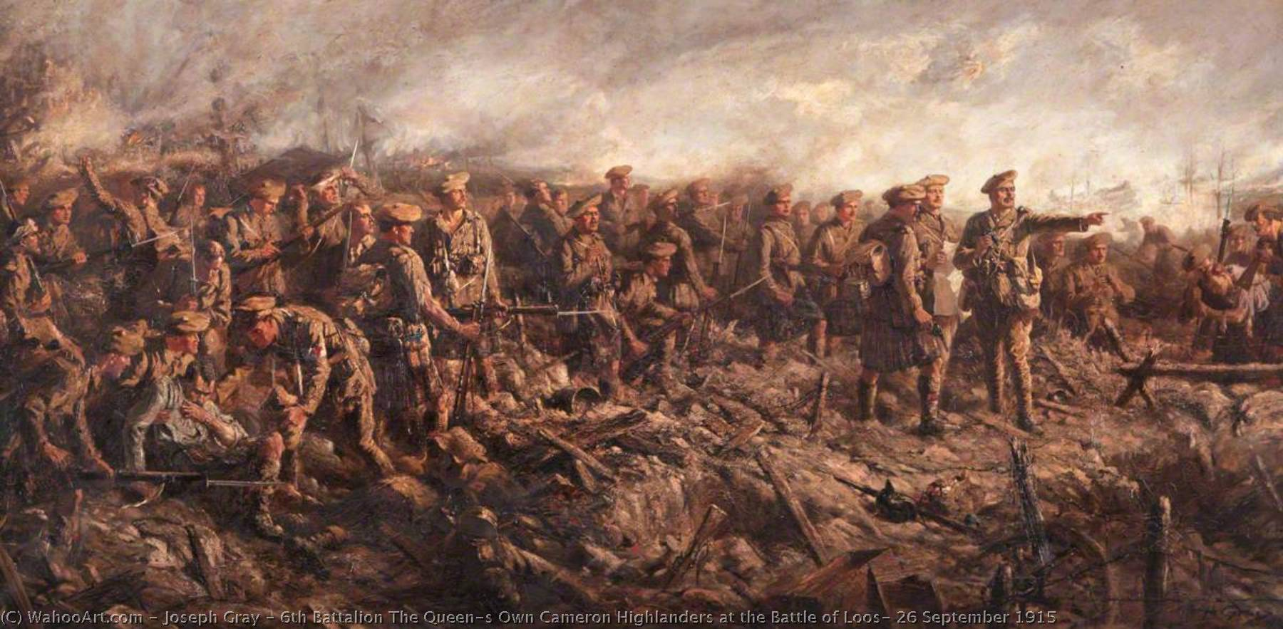 Order Reproductions | 6th Battalion The Queen`s Own Cameron Highlanders at the Battle of Loos, 26 September 1915, 1919 by Joseph Gray | WahooArt.com