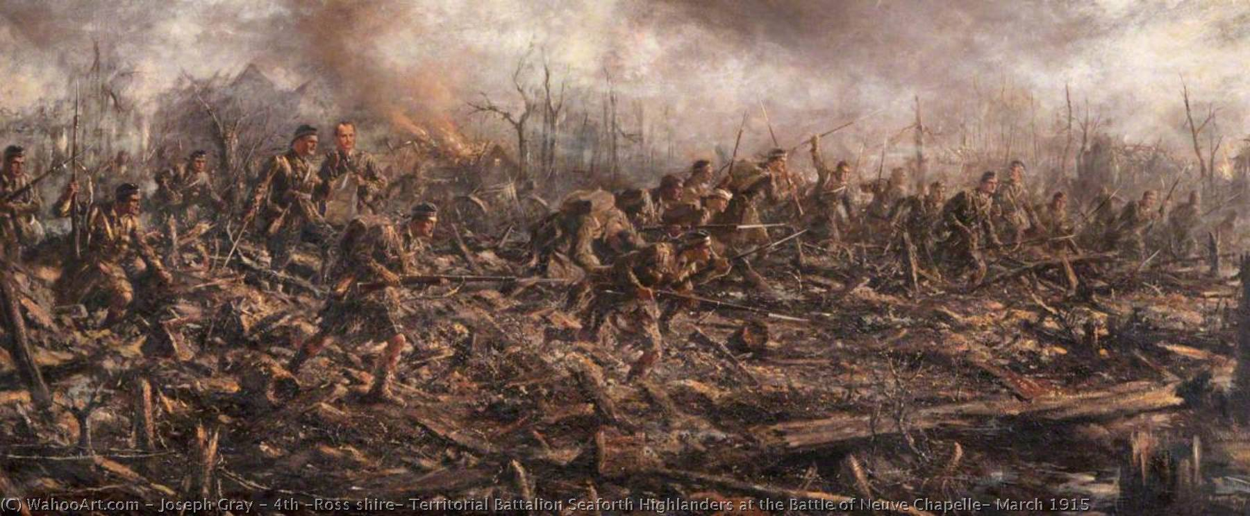 4th (Ross shire) Territorial Battalion Seaforth Highlanders at the Battle of Neuve Chapelle, March 1915, 1920 by Joseph Gray | Paintings Reproductions Joseph Gray | WahooArt.com