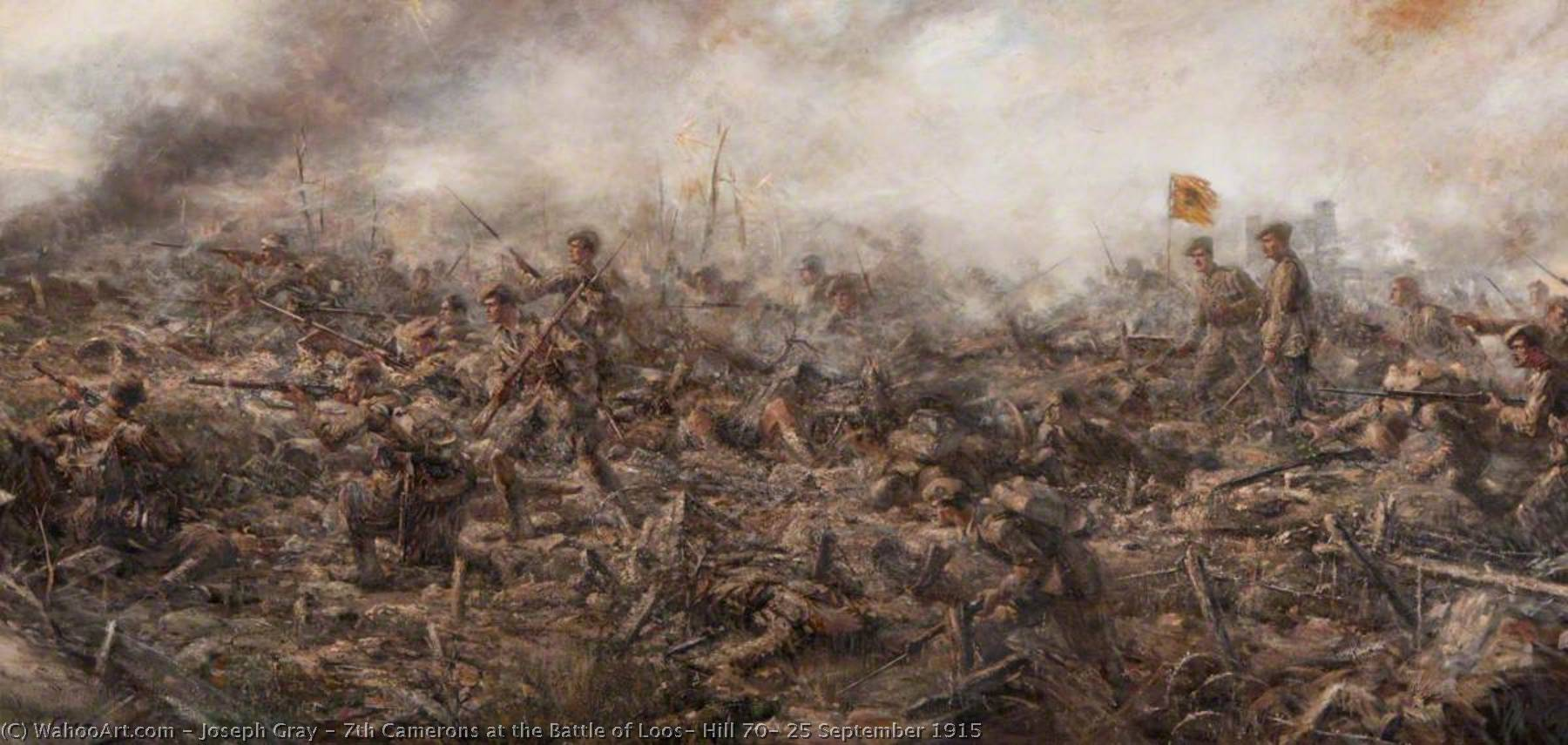 Order Paintings Reproductions | 7th Camerons at the Battle of Loos, Hill 70, 25 September 1915, 1921 by Joseph Gray | WahooArt.com