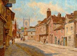 Walter J Stamps - View of St Mary-s Street Looking towards the Church, High Wycombe