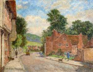 Walter J Stamps - The High Street, West Wycombe, Buckinghamshire, Looking towards the Pedestal and Branch Wood at Downley