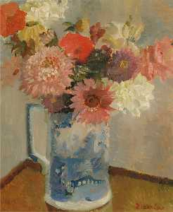 Diana Low - Flowers in a Blue and White Jug