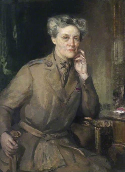 Mrs Chalmers, CBE, Director of QMAAC, Oil On Canvas by Cecile Walton