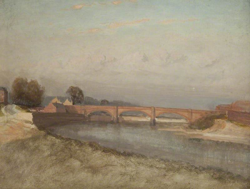 Old Walton Bridge, Oil On Canvas by William Pritt