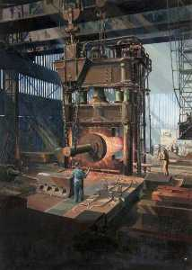 Cavendish Morton - Steam Hammer and Ingot, Beardmore Forge, Glasgow