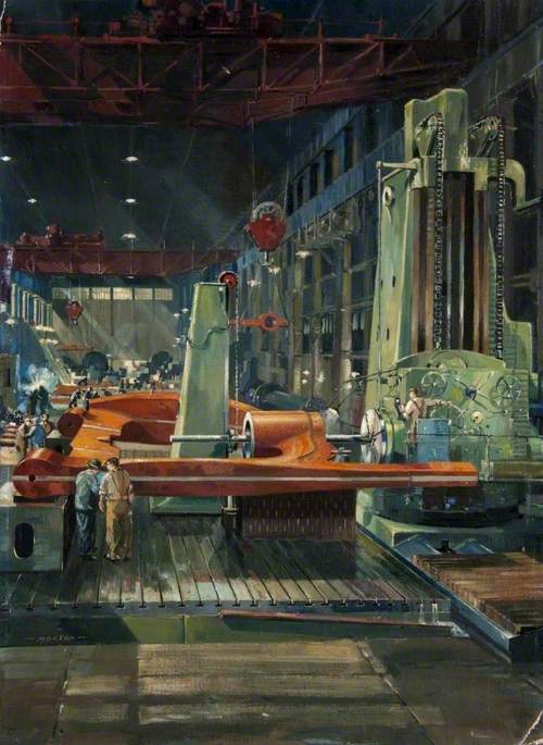 Order Paintings Reproductions | Stern Iron Being Bored, Beardmore Forge, Glasgow, 1950 by Cavendish Morton | WahooArt.com