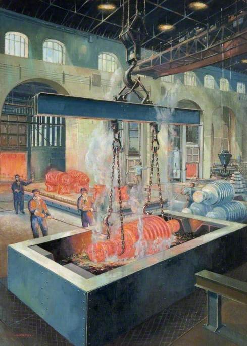 Order Art Reproductions | Rotors Being Hardened, Beardmore Forge, Glasgow, 1950 by Cavendish Morton | WahooArt.com