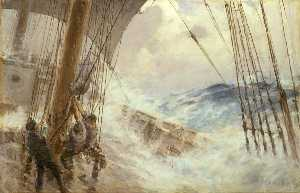 Arthur John Trevor Briscoe - Clewing Up the Mainsail in Heavy Weather