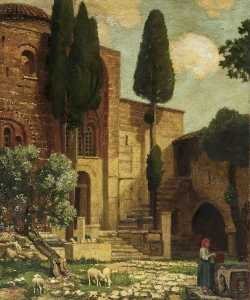 Victor Wellesley - A Convent at Daphne near Athens, Greece