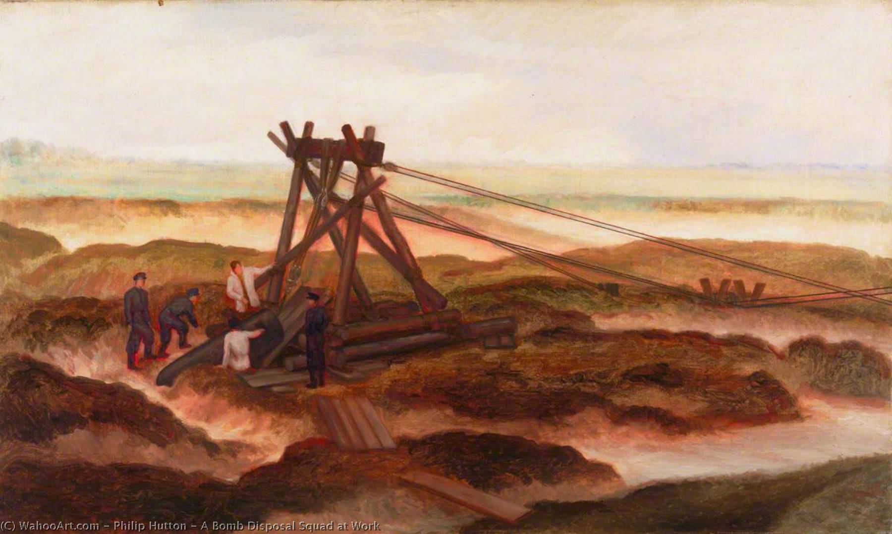 A Bomb Disposal Squad at Work, 1945 by Philip Hutton | Paintings Reproductions Philip Hutton | WahooArt.com