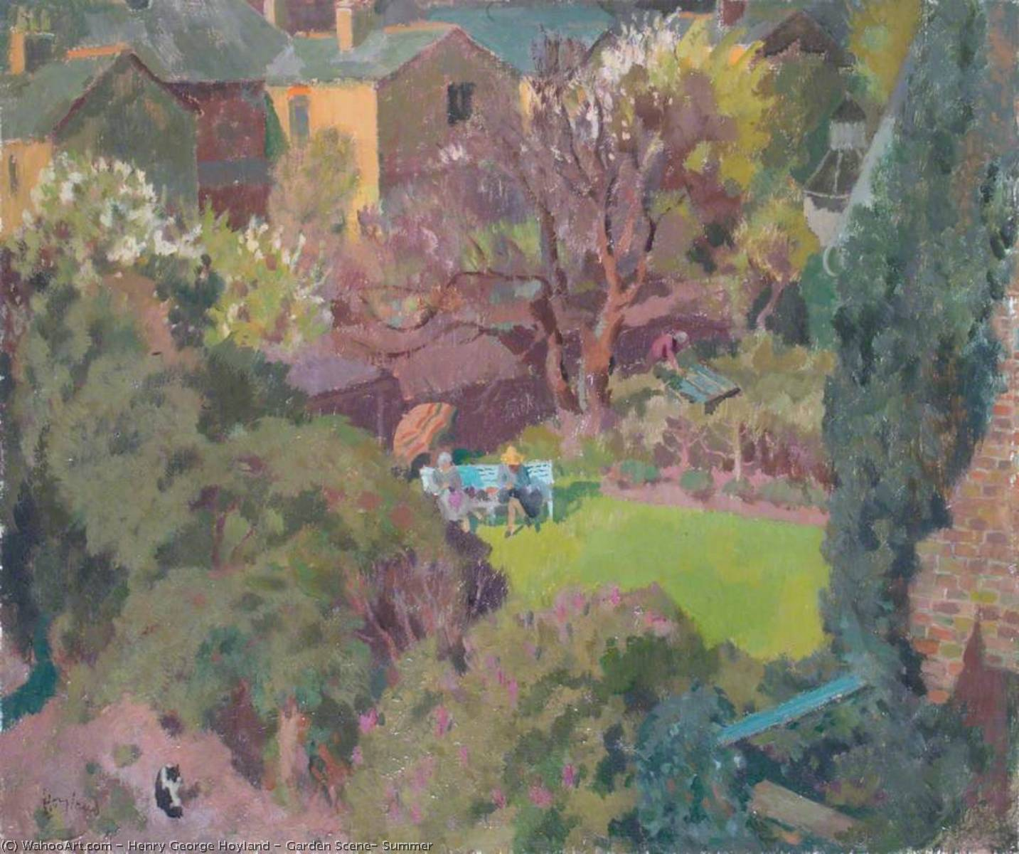 Garden Scene, Summer, 1930 by Henry George Hoyland | Oil Painting | WahooArt.com