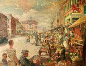 Victor Elford - Market Day, High Street, High Wycombe, Buckinghamshire