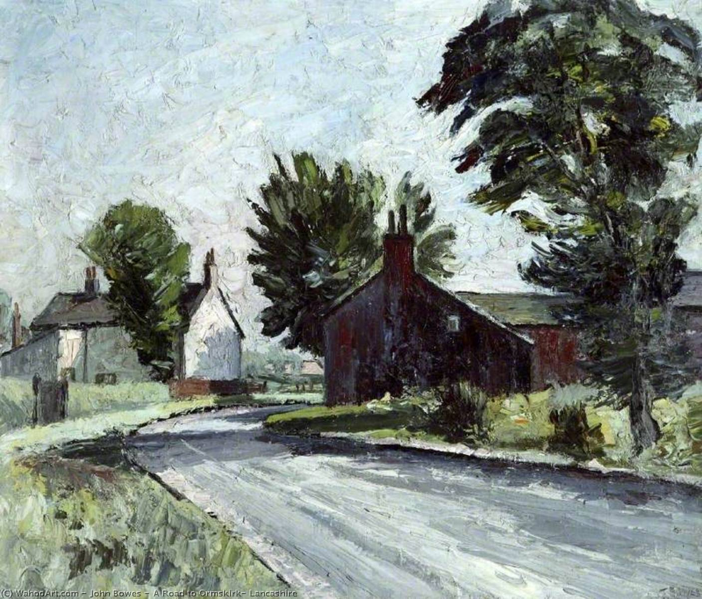 A Road to Ormskirk, Lancashire, Oil On Canvas by John Bowes
