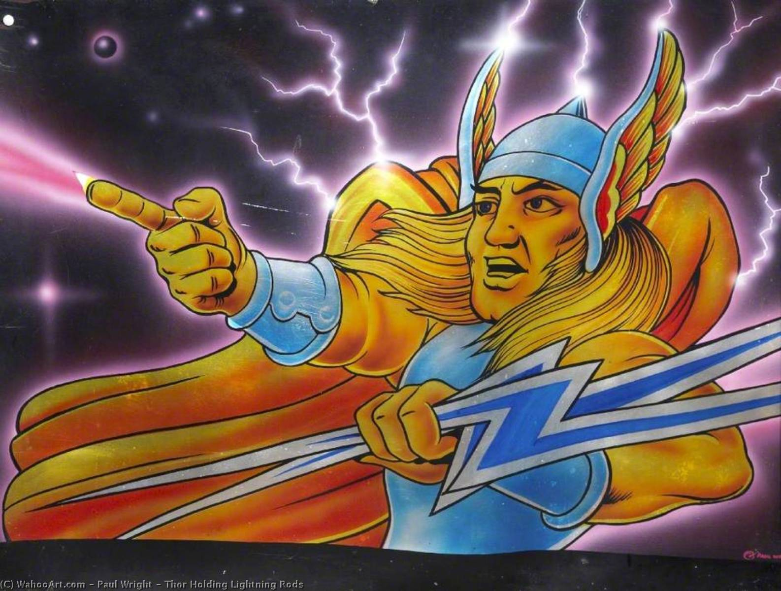 Thor Holding Lightning Rods, Oil by Paul Wright